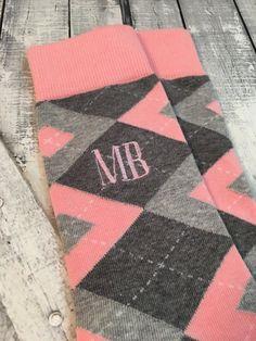 499a8087e63c Groom Socks - Blush - Pink - Grey Argyle Mens Monogram Socks - Mens Dress  Socks - Groomsmen Gift - G