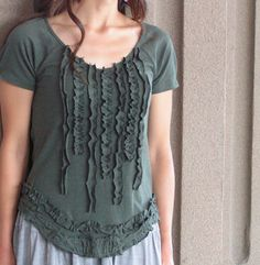 From two shirts of the same color-make this ruffle design or about 3 others. Great ideas!
