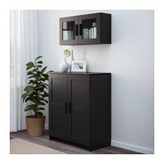 IKEA - BRIMNES, Cabinet with doors, black, , Adjustable shelves, so you can customize your storage as needed.