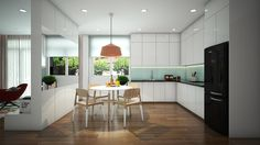 Minimalist and beautiful kitchen design with white color..... | Visit : roohome.com  #beautiful #kitchen #decoration #design #interior #creative #elegant #minimalist #gorgeous #fabulous #unique #simple #great