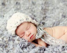 Newborn Bonnet  Pretty Twists FLOWERS AND LACE  by Knitbysarah