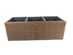 Extra Large Square Resin Wicker Planter with 3 Plastic Inlays - MS109