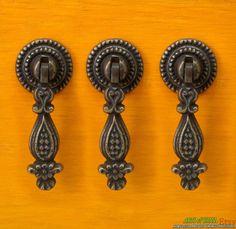 lot of 4 pcs vintage retro brass little flower leaf antique dresser knobs drawer knob pulls handles door knob pulls antiques vintage and dresser knobs