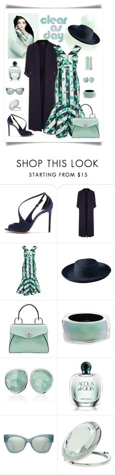 """Johanna Ortiz Belice Midi-Dress Look"" by romaboots-1 ❤ liked on Polyvore featuring Rupert Sanderson, Chiara P, Topshop, Johanna Ortiz, San Diego Hat Co., Proenza Schouler, Alexis Bittar, Monica Vinader, Giorgio Armani and TOMS"