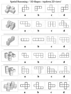 11 Plus: Key Stage 2: 11 Plus Spatial Reasoning, 3D Shapes - topdown 2D views, With this type of question you are given an image of a 3D shape (on the left) which is constructed with several cubes. To the right of the 3D shape are four 2D images labelled 'a' to 'd' which are the possible answers. You are required to determine which of the 2D images correctly shows what the 3D shape would look like if viewed from above. 11 Plus for parents