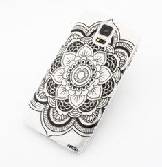 CLEAR PLASTIC CASE COVER for SAMSUNG GALAXY S5 SV i9600 - BLACK HENNA BLACK FULL MANDALA from milkyway