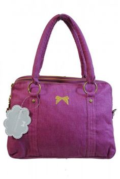 Earth Squared Fairtrade raspberry pink vintage floral lined with gold embroidered bow Alice shoulder hand bag