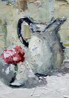 Enamel Pitcher | impressionistic oil painting by Alabam artist Gina Brown