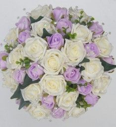 Lilac and Ivory Artificial Foam Rose Bridal Bouquet with Light Catching Crystals & Green Eucalyptus