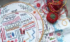 Dropcloth Samplers--The Original. The one that started it all! The Original Dropcloth Sampler is an embroidery sampler pre-printed on fabric, ready for you to embroider without having to transfer or trace a pattern! Hand Embroidery Kits, Embroidery Sampler, Learn Embroidery, Embroidery For Beginners, Embroidery Techniques, Embroidery Stitches, Wool Embroidery, Modern Embroidery, Embroidery Ideas