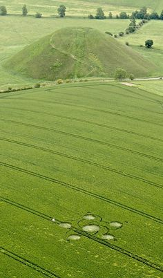 Ancora un cerchio nel grano a Silbury Hill, Wiltshire oggi 12 giugno 2012. Another crop circle at Silbury Hill. #cropcircle #cerchinelgrano. Nazca Lines, Crop Pictures, Planet Signs, Unexplained Phenomena, Mysterious Places, Circle Art, Crop Circles, Ancient Mysteries, Color Psychology