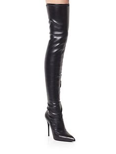 Alexander McQueen - Over-the-Knee Stretch Leather Boots