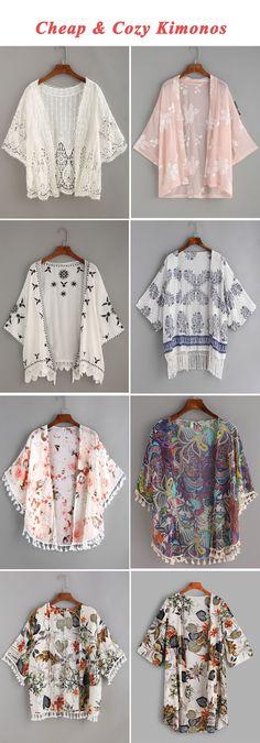 Cheap & cozy kimonos kimonos fashion, fashion outfits, diy c Kimono Fashion, Hijab Fashion, Diy Fashion, Fashion Outfits, Womens Fashion, Cheap Fashion, Fashion Sewing, Fashion Ideas, Fashion Inspiration