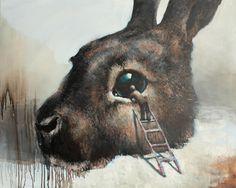 Artist Samuli Heimonen Creates Striking Paintings With Hidden Animal Rights Messages Art And Illustration, Illustrations, Lapin Art, 7 Arts, Rabbit Art, Bunny Rabbit, Surrealism Painting, Animal Rights, Surreal Art