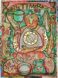 The Timer/Hanged One, Kitchen Tarot art quilt by Susan Shie Tarot Card Spreads, Tarot Cards, Fiber Art Quilts, The Hanged Man, Tarot Major Arcana, Love Tarot, Visual Diary, Tarot Decks, Deck Of Cards