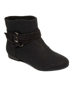 Another great find on #zulily! Black Rhinestone Buckle Gessica Ankle Boot #zulilyfinds