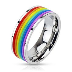 Stainless Steel Rainbow Striped Band Ring. Ordering! :( Bands come off.