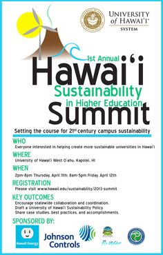Makakilo, HI The 1st Annual Hawaii Sustainability in Higher Education Summit is a two day conference for policy planning and program sharing about sustainability initiatives in the University of Hawaii 10 camp… Click flyer for more >>