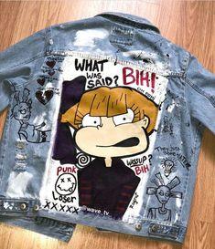 I'll rather have Susie Carmichael Painted Denim Jacket, Painted Jeans, Painted Clothes, Diy Clothing, Custom Clothes, Diy Fashion, Ideias Fashion, Custom Denim Jackets, Denim Art