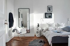 Bedroom mirror ideas mirrors apartment decorated with wall pictures and using as important dressing . Neutral Bedroom Decor, White Wall Bedroom, Scandi Bedroom, Simple Bedroom Design, Simple Bedroom Decor, Apartment Bedroom Decor, Small Room Bedroom, Bedroom Vintage, Bedroom Ideas