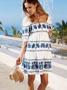 Boho Mexican Embroidered Dress