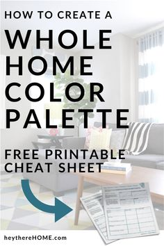 How to create a color palette for your home to get a cohesive look. I'll walk you through the easy steps to create your color palette and you can print out your free cheat sheet to organize your ideas! #color #colorpalette #interiordesign #interiorcolor #choosecolor #neutrals #boldcolor #wallcolor #accentcolor #colorscheme #paintcolor #choosepaint #greige #blueandwhite #printable #decorate #decor #decorating #tutorial #homedecoratingideas #paintingtips #traditionaldecor #moderndecor… Interior Color Schemes, Interior Paint Colors, Paint Colors For Home, House Colors, Neutral Paint Colors, Accent Colors, Bold Colors, Painting Tips, House Painting