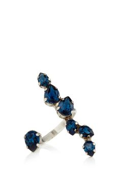 Oxidized Silver Plated Open Front Ring with Swarovski Crystal Details by Ryan Storer for Preorder on Moda Operandi
