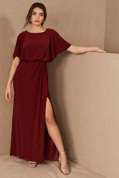 A high-neck, blouson bodice, and exaggerated flutter sleeves top off this beautifully draped dress.Only available at BHLDN Maternity Bridesmaid Dresses, Bridesmaid Dresses With Sleeves, Bridesmaids, Bride Dresses, Ball Dresses, Party Dresses, Wedding Dresses, Flutter Sleeve Top, Bhldn