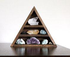 crystals and curio shelf