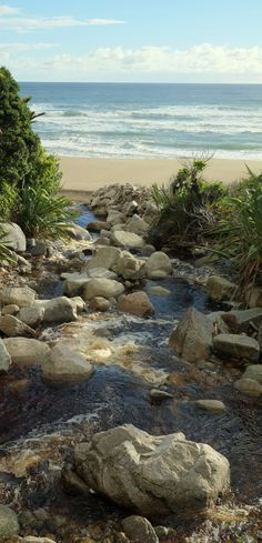 Stream flowing onto Scotts Beach in Kahurangi National Park, NZ Forest Park, South Island, Small Island, Pacific Ocean, Fiji, North West, Kara, New Zealand, National Parks