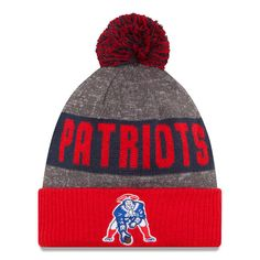 8b456cb1cd6 Men s New Era Heather Gray New England Patriots 2016 Sideline Official  Classic Pom Knit Hat