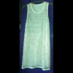 CLEARANCE ITEM CALVIN KLEIN WHITE SEQUIN DRESS GENTLY USED & WELL STORED  GREAT BOTTOM PRICE LOVELY'S  ;) NO VISIBLE FLAWS BUT PLEASE ASK ME TO DOUBLE CHECK BEFORE PURCHASING. NO FREE SHIPPING FIRM Calvin Klein Dresses Midi