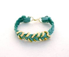Teal Suede Leather Bracelet with Gold Hex Nut by thepinkruffle, $6.00