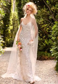 This wedding dress is elegant and beautiful with fancy lace fabric. Spaghetti neckline and floor length matches well. Free made-to-measurement service for any size. Available colors seen as in Color Options.