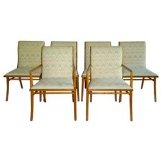 Set of 6 Robsjohn-Gibbings Saber Leg Dining Chairs 1953