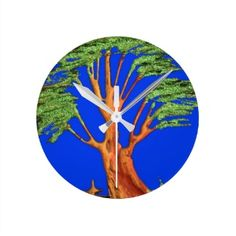 Hakuna Matata Eco Blue Green Acacia Tree. Wallclocks $23.95 per clock