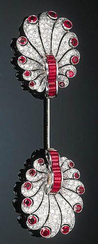 Art Deco Ruby and Diamond Jabot Pin, Circa 1930