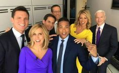 Some Of CNN's Best Anchors Hanging Out Before The CNN Quiz Game Show Hosted By Anderson Cooper