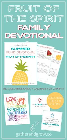 This Family Fruit of the Spirit Devotional is a great summer Bible study. This free family devotional includes verse cards and a beautiful print of Galatians 5:22-23.