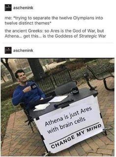 Greek Mythology Humor, Greek And Roman Mythology, Greek Gods, Women In Greek Mythology, Percy Jackson Memes, Percy Jackson Books, Tumblr Funny, Funny Memes, Heroes Of Olympus