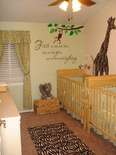 Twin Nursery with a Jungle Theme. love the quote