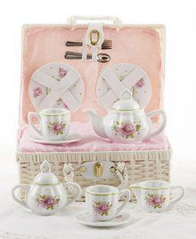 Porcelain Child Tea for 2, Tea Set/basket, Pink Rose Pattern. Available at OurPamperedHome.com