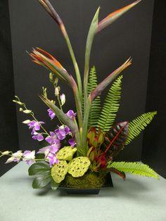 Modern arrangement in low vessel featuring bird of paradise, dendrobium orchids, ferns
