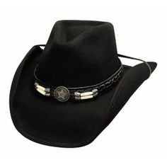 """From the Cowboy Cool Collection: Skynard. Made of Premium Wool with a 3 3/4"""" brim and pinchfront crown this hat is a best seller! This hat is shapeable and includes a hat band that features a star concho and bone barrel beads"""