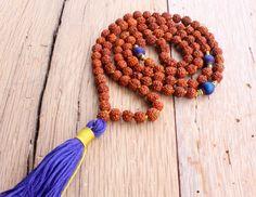 Mala Rudraksha Necklace Purple Druzy Agate Yoga by JivalaJewelry
