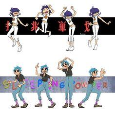 Noodle & 2D dancing | Gorillaz, fanart by wonderfulworldofmoi on Tumblr