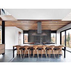 #design Lemay / Manuel Cisneros. Photo by Adrien Williams #kitchen #timber #stone #interiordesign #black #interior #kitchendesign #interiorstyling #insideout #homedesign #interiorinspo #customhomes