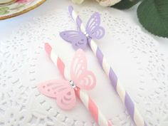20 Pink Purple Butterfly Paper Drinking Straws Girls Fairy TEA Garden Party | eBaybir