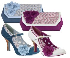 Ruby Shoo Matching Poppy Mary Jane Pumps & Kyoto Bag Blue Floral / Ivory Plum in Clothes, Shoes & Accessories, Women's Shoes, Heels | eBay