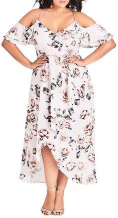 d3b1be547e7 City Chic Champagne Rose Cold Shoulder Maxi Dress (Plus Size)